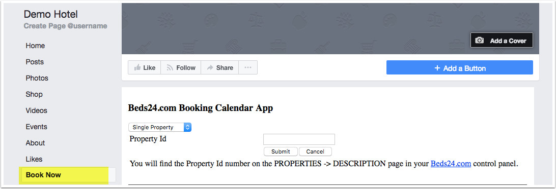 Facebook App - Beds24 Wiki